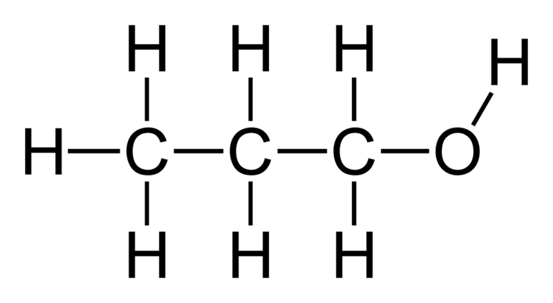 http://en.wikipedia.org/wiki/File:Propan-1-ol-2D-flat.png