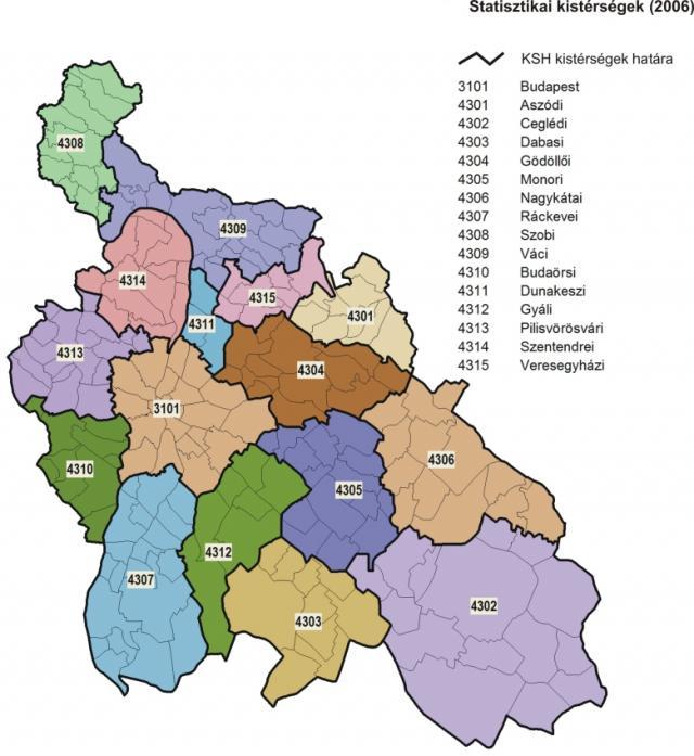 Kistérségek Közép-Magyarország területén