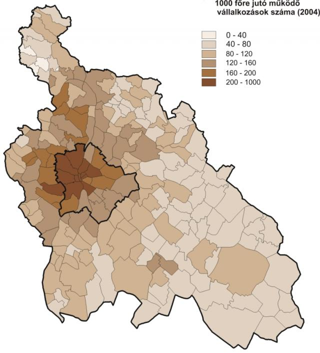 Vállalkozások száma a Közép-Magyarország Régióban